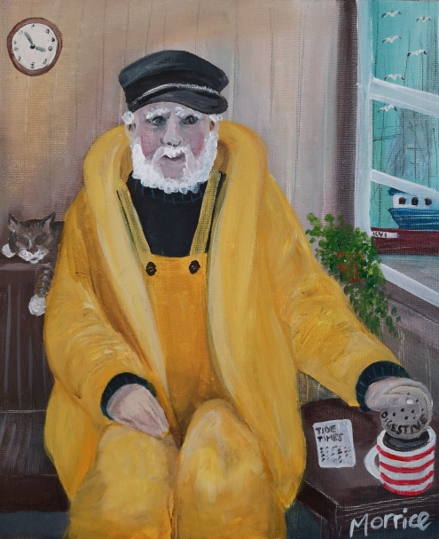 "The harbourmasters cat, 12x10"" canvas board"