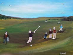 Andrew never misses a shot, on the course and off 25x20cm canvas